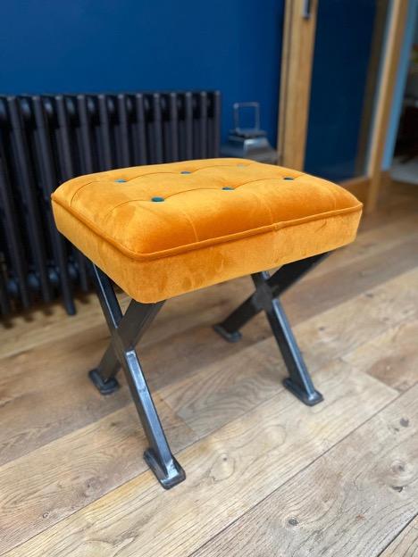 velvet contrast button custom made stool with cross legs