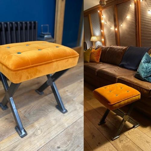 velvet contrast button stool with cross legs