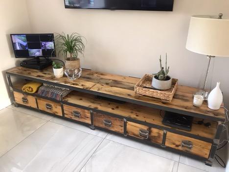 Reclaimed wood industrial storage unit