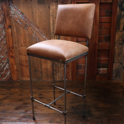 Industrial leather bar stool with backrest