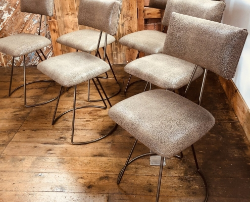 Leather custom industrial dining chairs