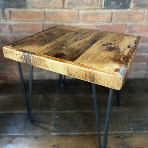 handmade industrial wooden coffee table with hairpin legs
