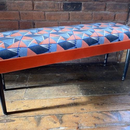 Patterned industrial steel bench