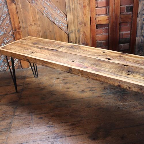 Reclaimed wooden industrial bench